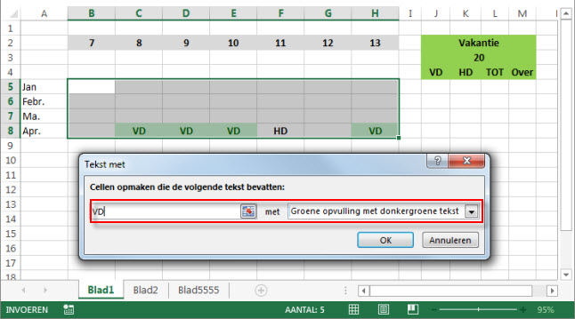 kleur cellen optellen excel