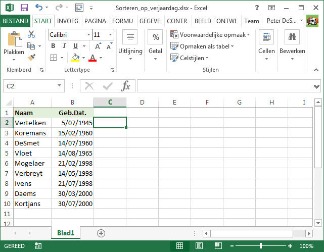 Gratis Tips Excel Sorteren Op Verjaardagen
