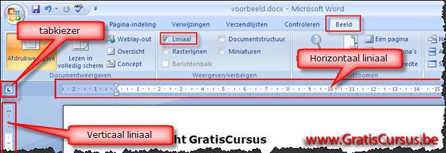 gratis cursus word 2007 tabstops instellen