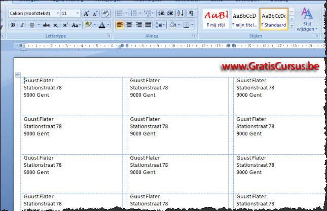 Ongebruikt gratis cursus Word 2007 - Etiketten HV-08