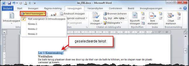 inhoud maken in word 2010